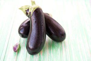 Fresh seasonal eggplants